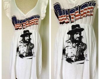 Waylon Jennings T Shirt, Waylon Jennings T Shirt Dress, repurposed t shirt, repurposed t shirt dress, tie dye dress, hippie dress, boho dres