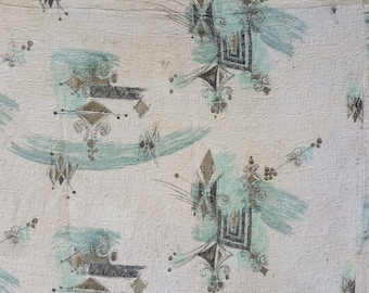 Mid Century Drapery Fabric Remnant Atomic Design 80 by 50 Inches