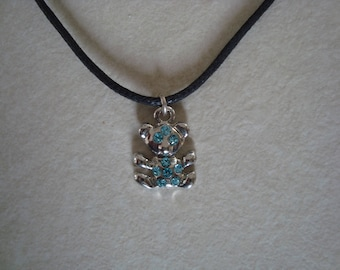 Blue with Rhinestones silver bear pendant necklace