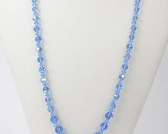 Blue AB Crystal Necklace Faceted Graduated Size Beads 30 Inches Long
