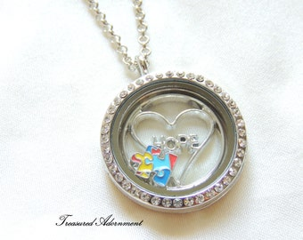 READY TO SHIP, Autism Awareness Jewelry, Floating Locket Necklace, Puzzle Piece, Hope, Gift for Mom, Autism Mom, Thank you gift, Therapist
