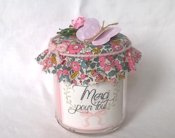 """""""Thanks for everything"""" pink candle on pink liberty"""