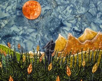 Harvest moon, autumn decor, wedding gift, annivesary art, engagement art, fall colors, orange wheat, Original Fabric on Wood art box