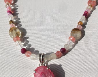 Pink druzy quartz and tourmaline necklace and earring set #38