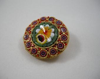mosaic brooch, mini mosaic brooch, micro, small brooch, many colors, colorful, goldtone metal