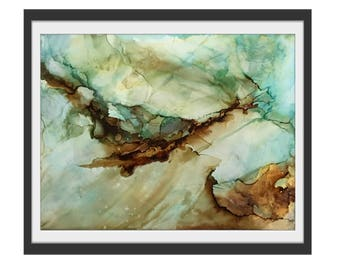 Giclee Print teal abstract, STRENGTH