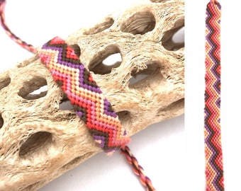 Friendship bracelet - woven - knotted - zigzag - striped - handmade - macrame - string - cotton - embroidery floss - thread - pink - purple