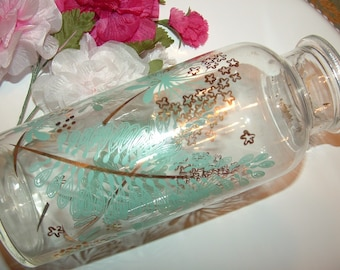 Vanity Decanter with Queen Anne's Lace and Ferns in Aqua and Gold