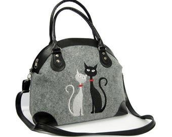 FELT BAG,  GREY felt bag,  Felt tote, Homemade Women bag, Felt bag, Cat bag, Felt shopperbag, Felt handbag, Felt shoulder bag,Cat design bag