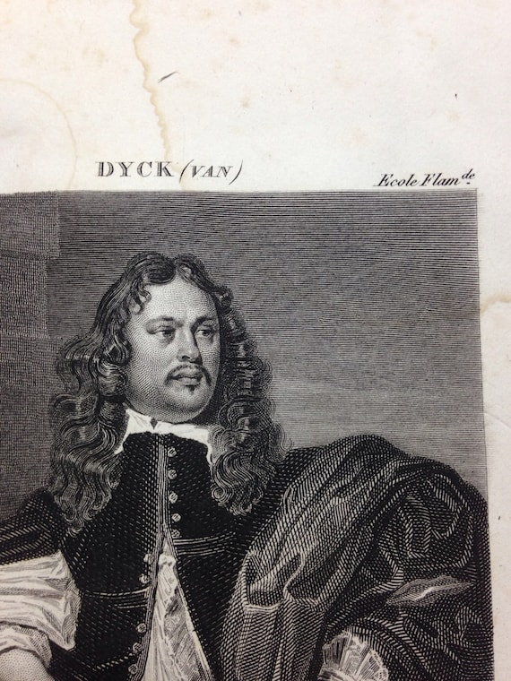 19th C Engraving of 'Portrait d'Homme' by van Dyck