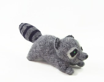 stuffed toy, toy raccoon, eco friendly toy, waldorf toy, stuffed animal, waldorf raccoon, woodland animal toy,