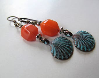 Sunset - Frosted Orange Beads and Blue Patina Shell Charm Niobium Earrings - Tropical - BeadedTail