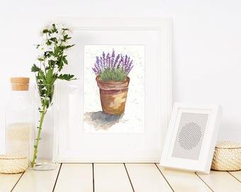 Lavender in Clay Pot, Art, Watercolor, print, fine art print, watercolors, paintings, lavender, purple, terra cotta, orange