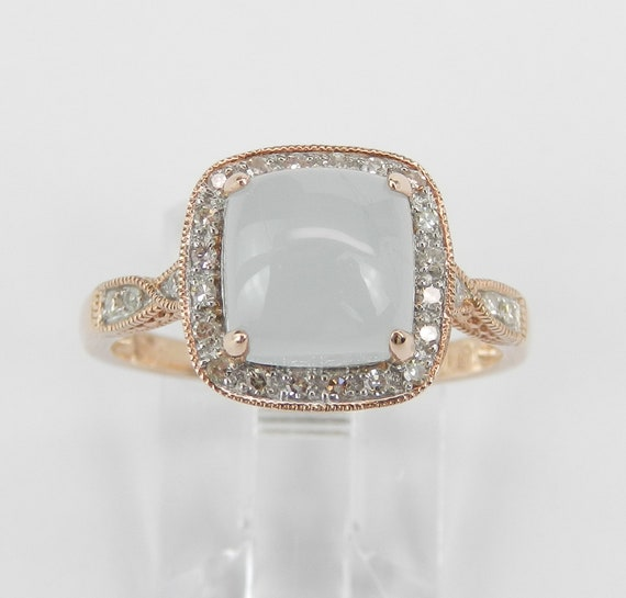 Rose Gold Cushion Cut Aquamarine and Diamond Halo Engagement Ring Square Cabochon March Birthstone