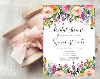 Colorful Flowers Invitation | Rehearsal Dinner Invites | Party Invites | Printable Floral Templates | MS Word | Instant Download
