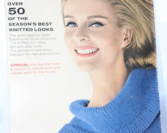 1963 Vogue Knitting Magazine -- Fall Winter 1963 -- Hand Knitting, Women, Men, Children -- Sweaters, Pullovers, Suits -- 1960's