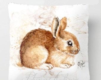 "Pillow ..BUNNY   PRINT art.. animal art - woodland art - fine art -living room - childrens room - nursery - babies - """"  rabbit"""""