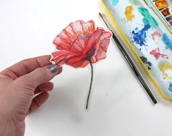 Poppy Sticker, Vinyl Sticker, Vinyl Flower Sticker, Vinyl Poppy Sticker, laptop sticker, bumper sticker, watercolor sticker, watercolor art