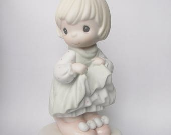 """Precious Moments """"Who's Gonna Fill Your Shoes"""" Porcelain Figurine - Enesco - Vintage Collectible - Girl in Big Shoes - Original Box - 1996"""