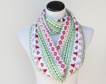 Christmas scarf reindeer infinity scarf scandinavian fair isle soft jersey knit snood scarf - green red loop scarf - gift idea for her