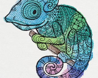 Bright Chameleon Embroidered Flour Sack Hand/Dish Towel