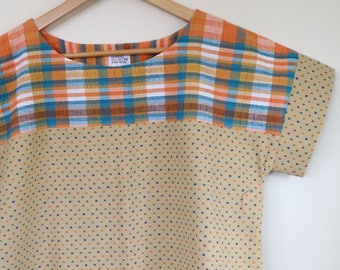checks in orange and blue...ladies loose fit blouse in vintage cotton fabrics