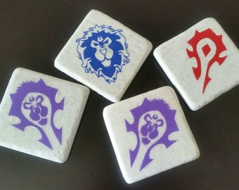 Horde and Alliance (Set of 4) Bi-factional World of Warcraft Natural Stone Coasters