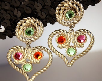 Jeweled Heart Earrings, Signed, Élee, Clips, Dangles, Rhinestones, Crystals, Peridot, Green, Pink, Orange, Rope, Silver