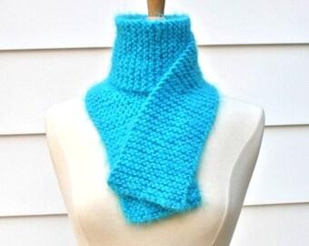 blue knit scarf, aqua knit scarf, soft wool scarf, knit wool scarf, wool knit scarf, traditional scarf, super soft scarf, knit neckwarmer
