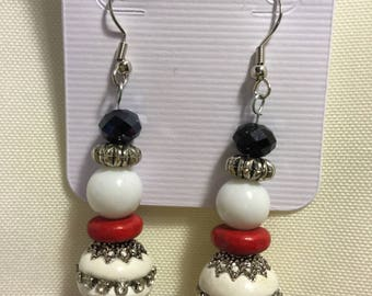 Festive Snowmen Bead Earrings