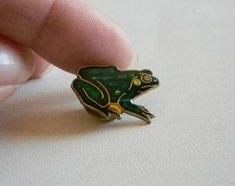 Green Enamel Frog Tack Tac Pin Brooch