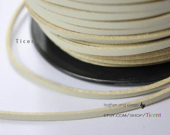 10 Yards 3mm Patent Faux Suede Leather, Khaki Coated Suede Leather CS3M152