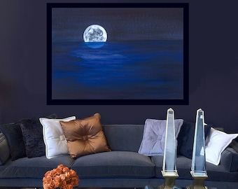 Extra large dark cobalt blue, midnight, white night Moon Art, Sea / Ocean print of fantasy acrylic painting: Kauai Hawaii artist Donia Lilly