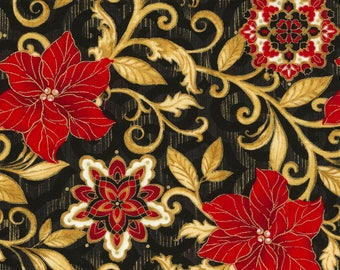 Metallic Poinsettia Fabric; CM4982; Fat Quarter, 1/3 Yard, 1/2 Yard, By the Yard; Timeless Treasures; Natalia; Christmas; Black/Red/Gold