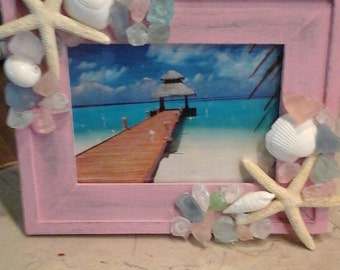 Seaglass and seashell 5x7 picture frame