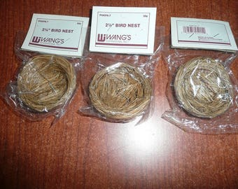 "Wang's 2 1/4"" Bird Nests, 2 White Plastic Bird Eggs Packages 1"" 6 Each , 7 3 1/2 Inch Unmarked Nests, 1 4 Inch Bird Nest, Speckled Eggs"