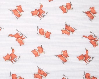 Fox Swaddle / Gauze / Muslin Cotton Shannon Fabric by the Yard