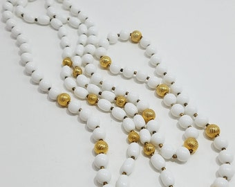 Gorgeous Pair of White & Gold Beaded Necklaces