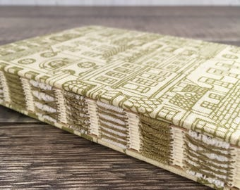 A6 Town Houses Journal, Notebook, Diary, Sketchbook, Guest book, Handmade, Hand bound, Open spine