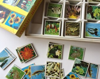 Vintage memory game, complete Ravensburger nature memory game cards, 63 pairs from 1959