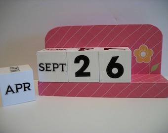 Pink Calendar Perpetual Wood Block Calendar Bubblegum Pink