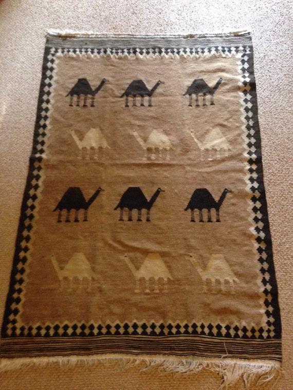 Hand Woven Azerbaijani Antique Camel Wool Caravan Rug or Carpet