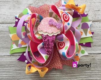 Ice Cream Hair Bow, Ice Cream Hairbow,Ice Cream Bow, Boutique Hair Bow, Ice Cream Birthday, Summer Hair Bow