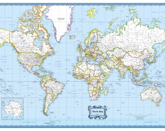 """World Wall Map Classic Blue Poster - 36""""x24"""" Rolled Paper or Laminated 2018"""