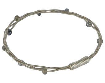 Beaded Guitar String Bangle Bracelet - Grey