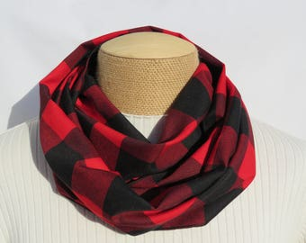 Buffalo Check Infinity Scarf, Red and Black Scarf, Red Plaid Scarf, Black and Red Fashion Scarf, Buffalo Scarf, Buffalo Scarf, Red and Black