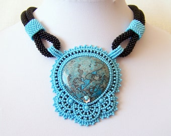 RESERVED listing for Georgia Paris - Statement Beadwork Bead Embroidery Pendant Necklace with Blue Leopard Skin Jasper - blue - black