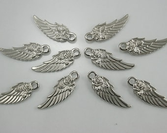 10 pcs Zinc Silver Tone Angel Rose Wings Charms Decorations Findings 11x31 mm. (2 sides) Wings N 1131 30 CHM RC