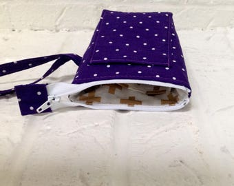 iTOVi Case / Water-Resistant iTOVi Bag / fabric zippered pouch for iTOVi / essential oils scanner pouch / small divided purple pouch