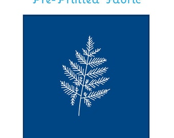 BOTANICAL FERN embroidery fabric, pre-printed embroidery pattern, sun print, cyanotype, modern embroidery design by StudioMME